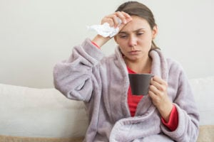 woman with cold flu RTI
